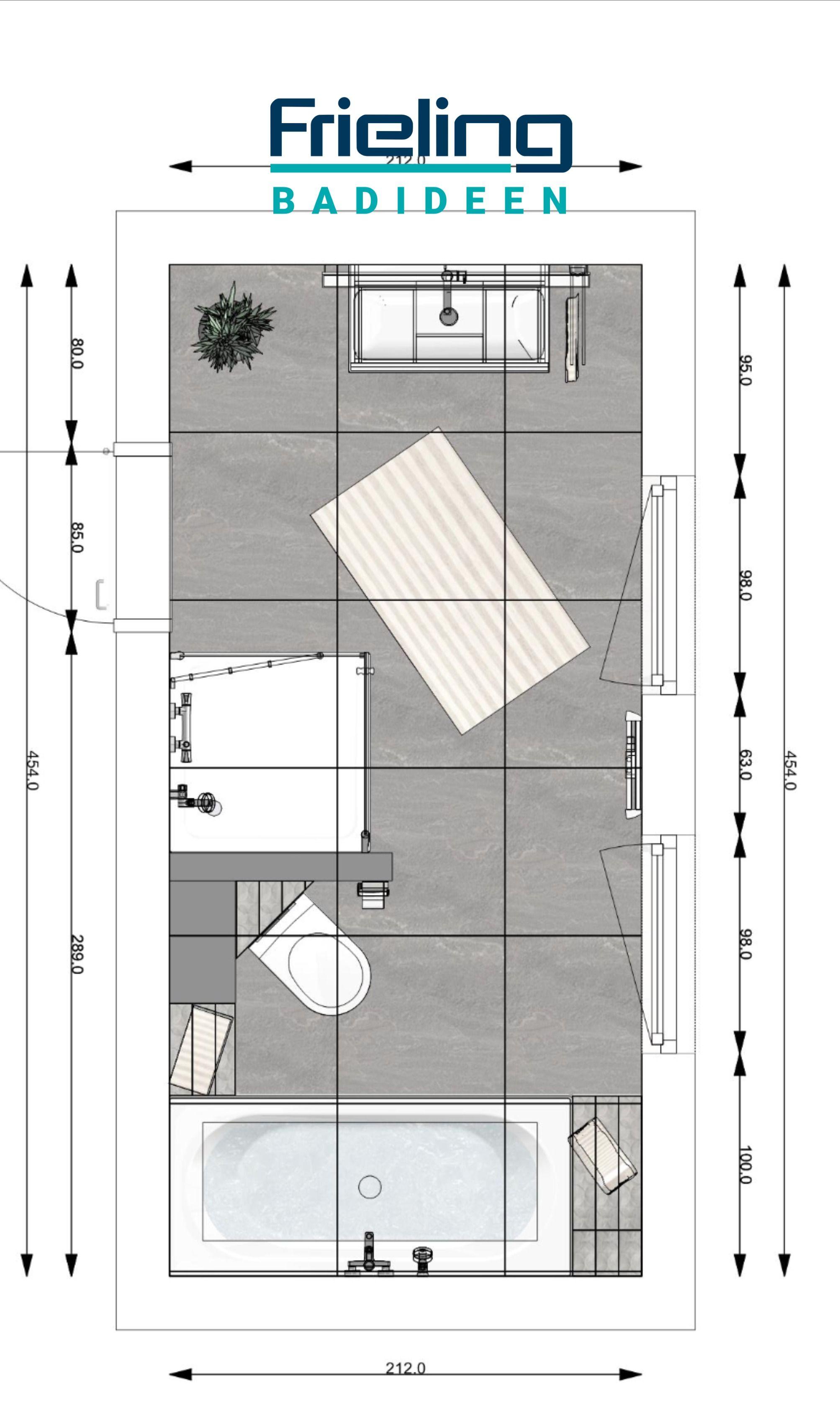 Das Bad Aus Zwei Zonen 3d Planung Vogelperspektive Mit Oder Ohne Toilette Toilette Seperat In 2020 Grosse Badezimmer Bad Badezimmer