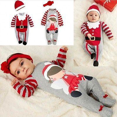 Santa Toddler Kid Girls Boy Cute Costume Jumpsuit Dress /& Hat Outfits