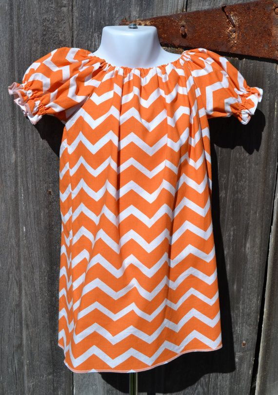 Orange Chevron Peasant Dress Custom Toddler by PigtailsNPetticoats, $22.00  3/4 sleeves $24.00
