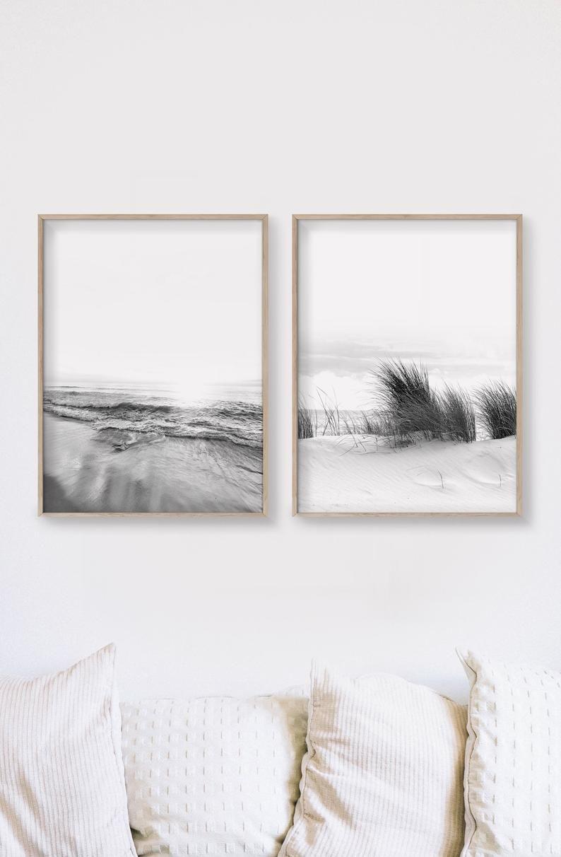 Set Of 2 Printable Art Black And White Prints Coastal Etsy Black And White Prints Prints Wall Art Prints