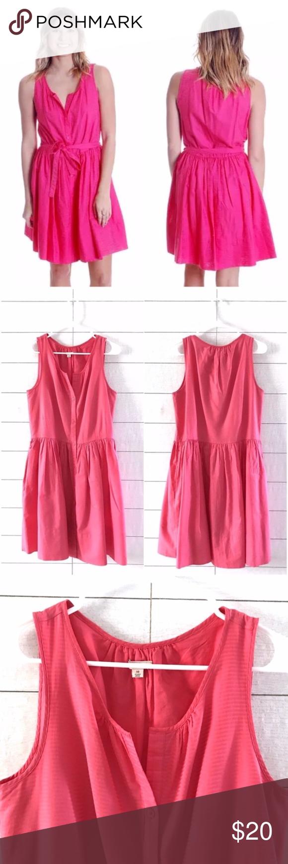 b3a777d1328042 Gap Pink Sleeveless Button Down Shirtdress Gap Size 10 Button Down Dress  Pink Sleeveless Fit Flare