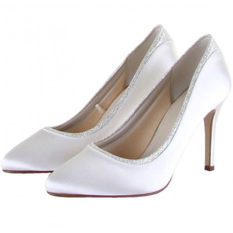 Billie By Rainbow Club Ivory Or White Glitter Shimmer Sparkly Satin Dyeable Wedding Occasion Shoes