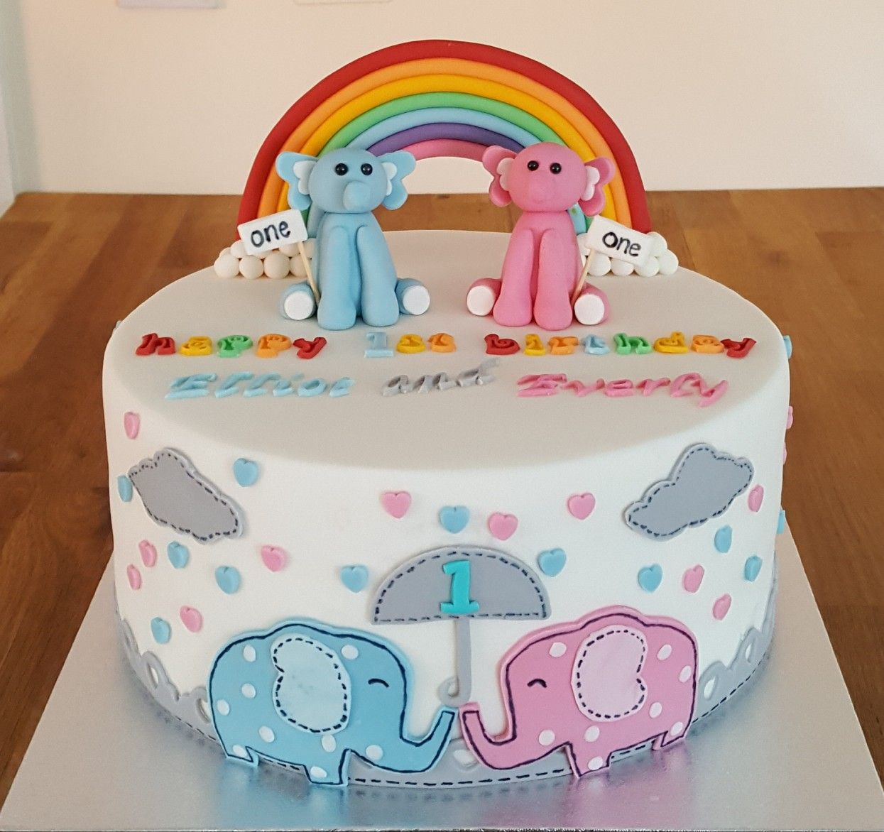 1st Birthday Cake For Twins Boy Girl With Elephant Rainbow