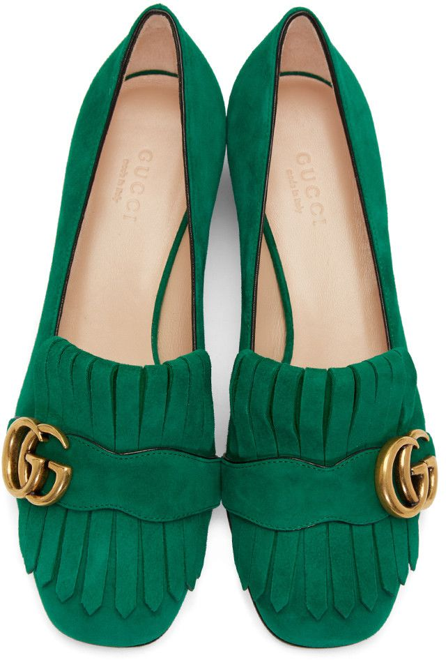 a4c99fe7243 Gucci - Green Fringe Marmont Loafer
