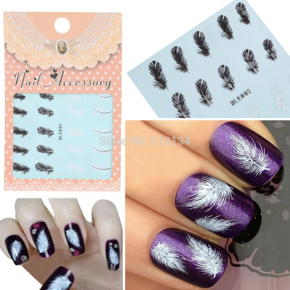 20pcs/sheet Black & White Feather Nail Art Decals Water Transfer ...