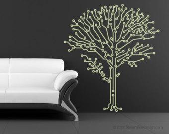 Geek Wall Art circuit-tree circuitry geeks love nature too, removable wall art