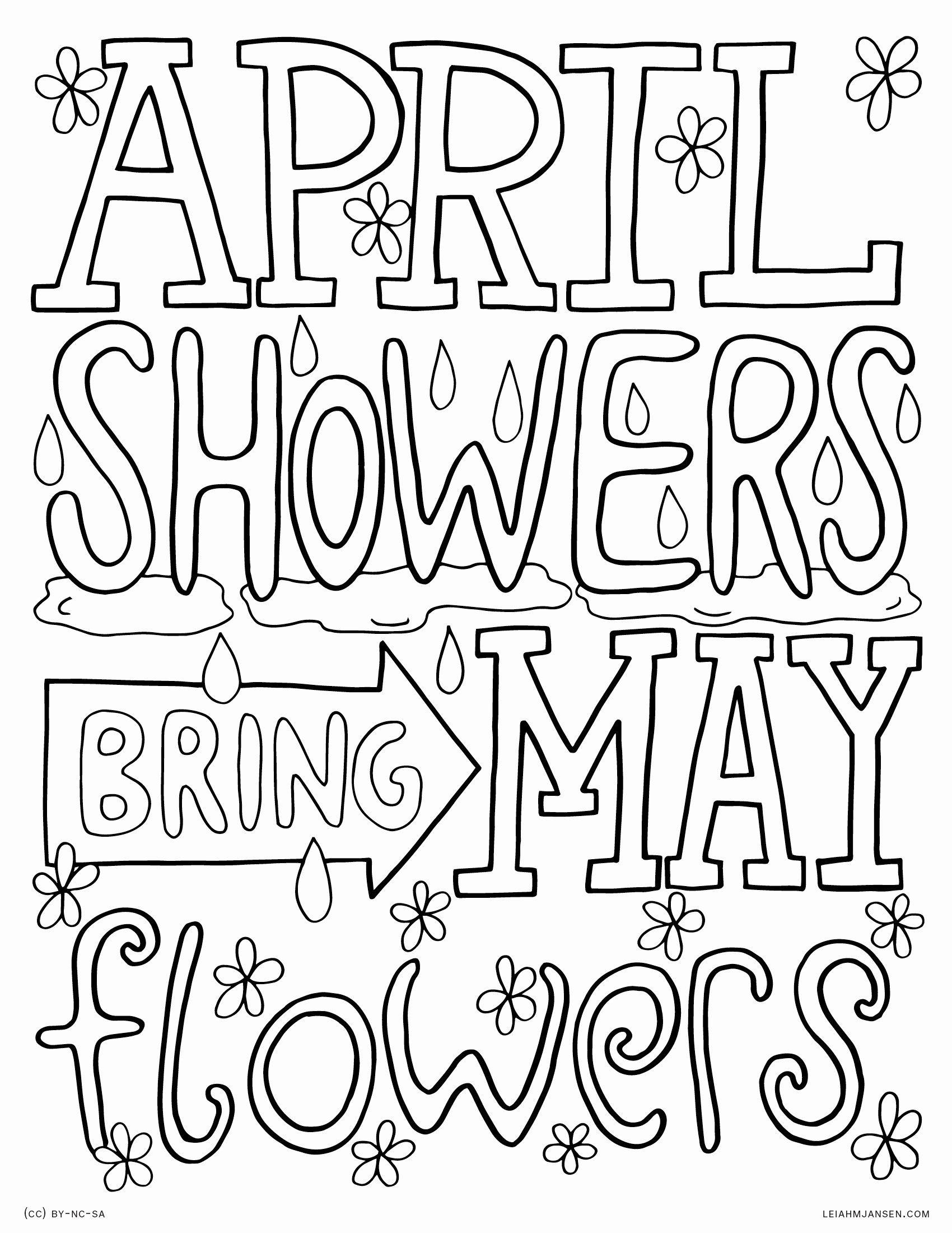 April Showers Bring May Flowers Coloring Page Fresh Coloring Pages