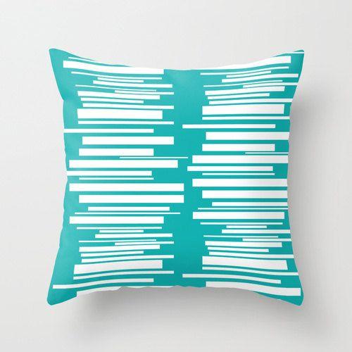Teal Pillow Mid Century Modern Pillow Modern Pillow Mod Pillow Geometric Pillow Striped Pillow Mid Century Modern Pillows Modern Pillows Teal Throw Pillows