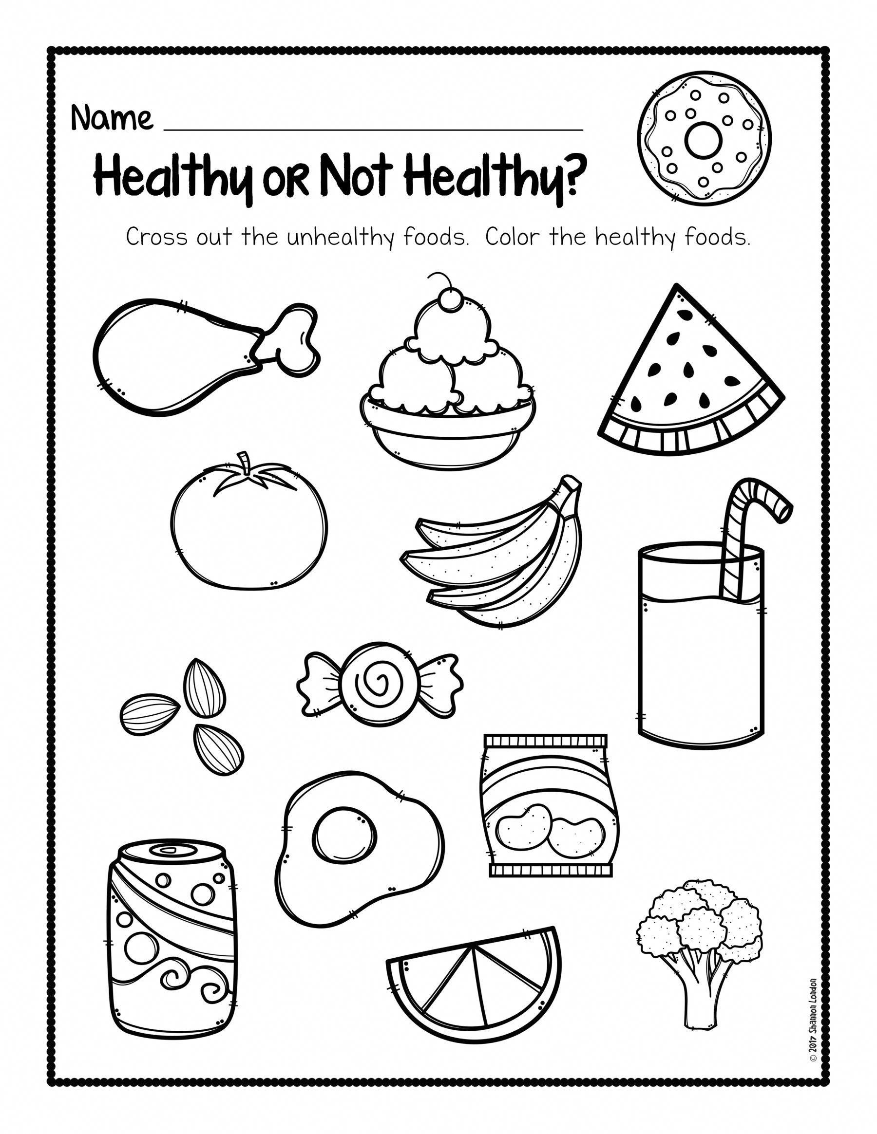 March Kindergarten Health Worksheet