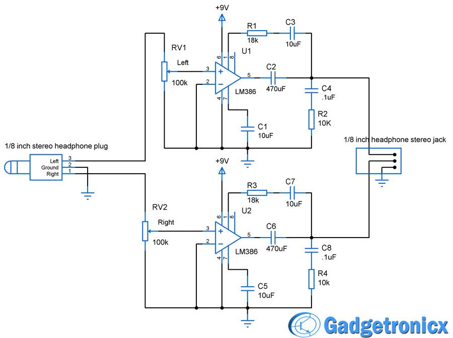 DIY headphone amplifier circuit diagram using LM386 audio amplfiier ...