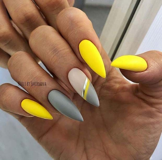 43 Chic Ways To Wear Yellow Acrylic Nails Yellow Nails Design Simple Nail Designs Neon Nails