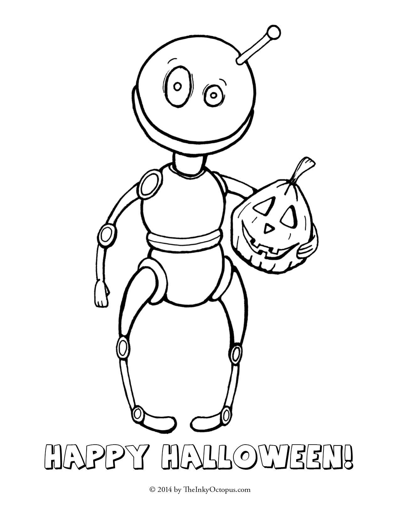 Printable Robot And Pumpkin Halloween Coloring Page From