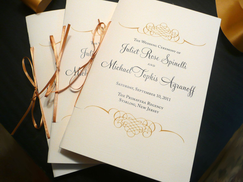 Gold Wedding Programs, Catholic Wedding Program, Wedding