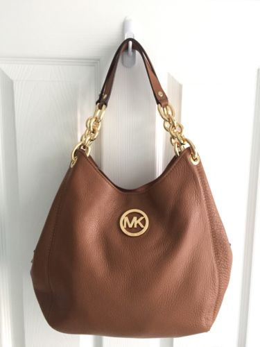 9007533c9a8d 37797 Women-Handbags-and-Purses NWT Michael Kors Fulton Chain Leather Medium  Shoulder Tote Luggage Tan $348 BUY IT NOW ONLY $189.0 NWT Michael Kors  Fulton ...