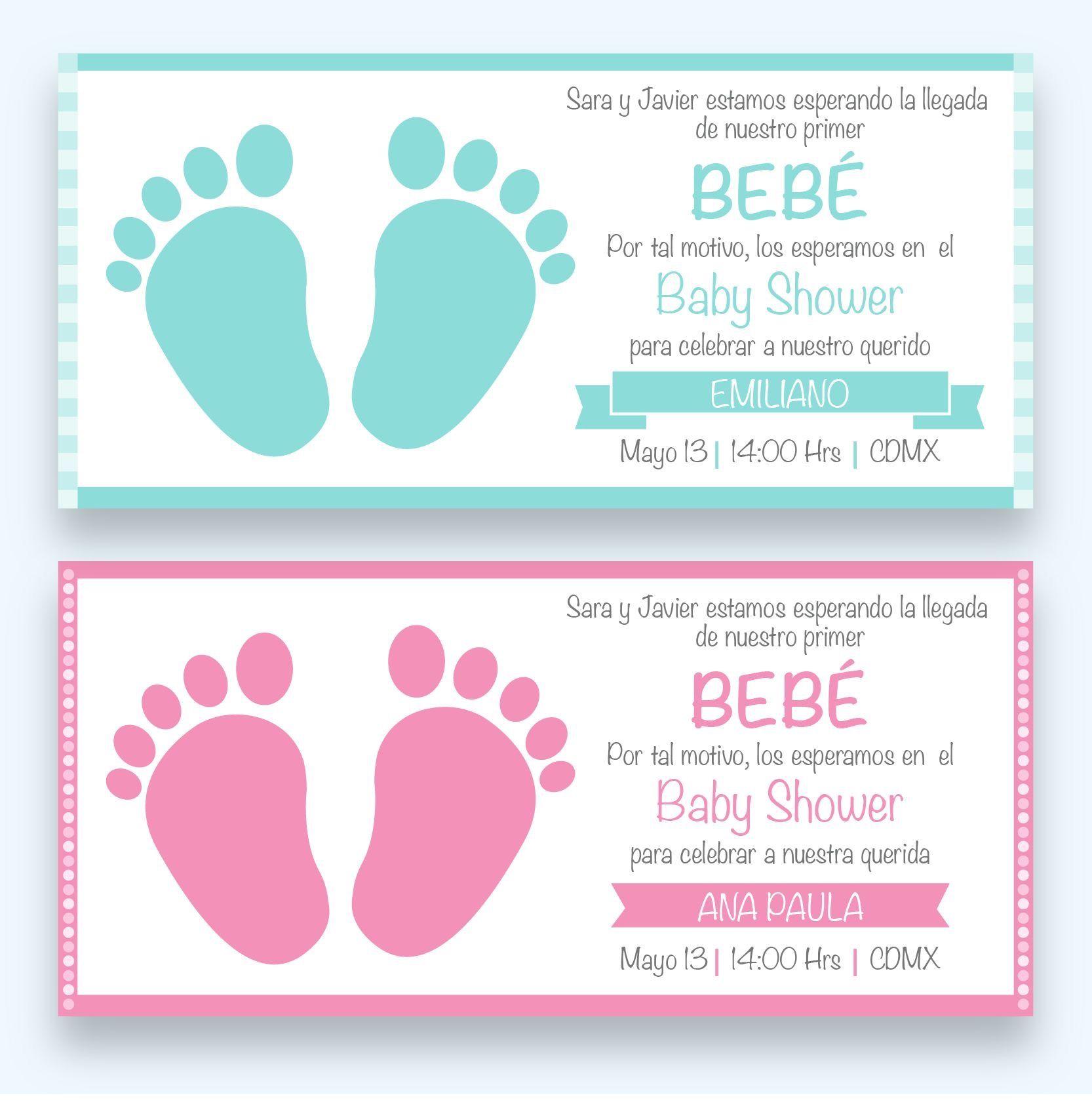 INVITACIÓN SENCILLA DE BABY SHOWER NIÑA/NIÑO MOD: BS05