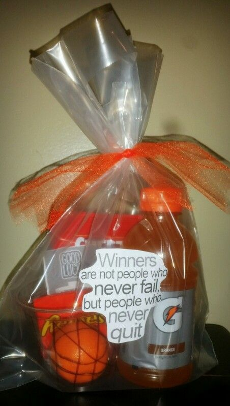 Basketball Themed Gift Basket With Quote Sticker