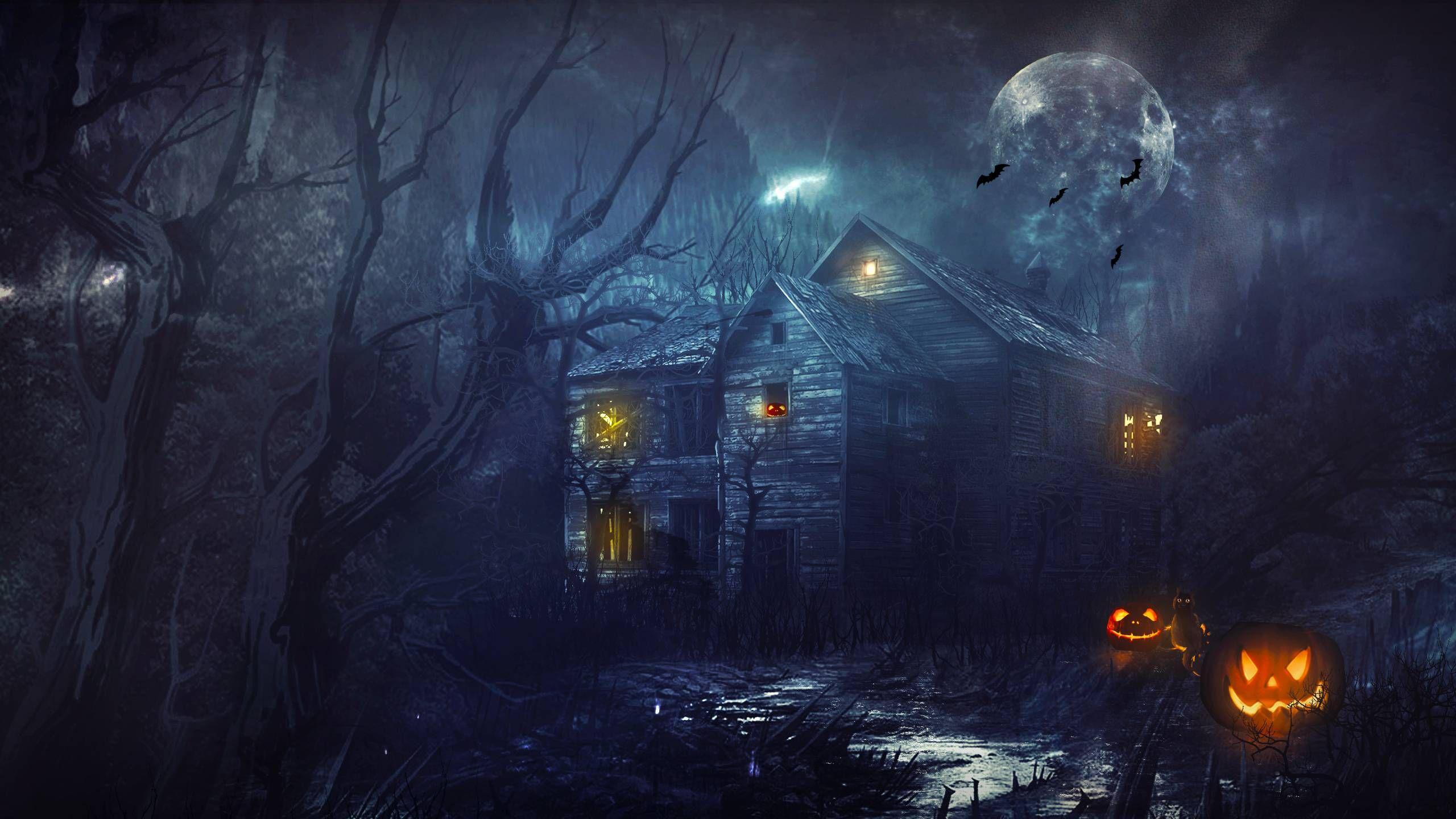Halloween Haunted House Wallpaper 2560 1440 Com Imagens