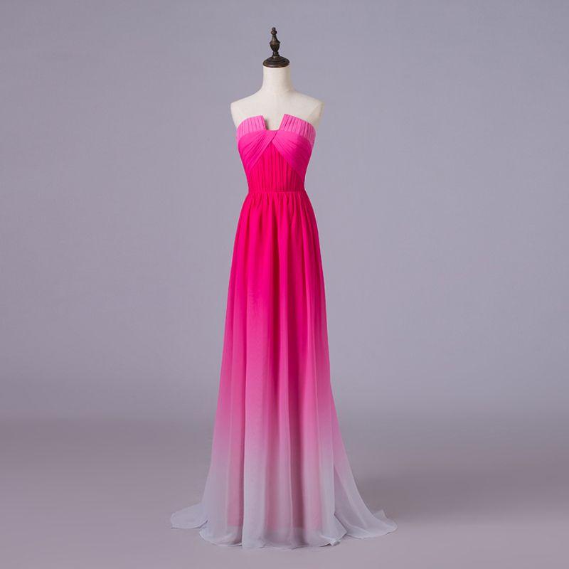 Ombre Peach Long Evening Dresses Prom Dresses 2015 Vestidos De ...