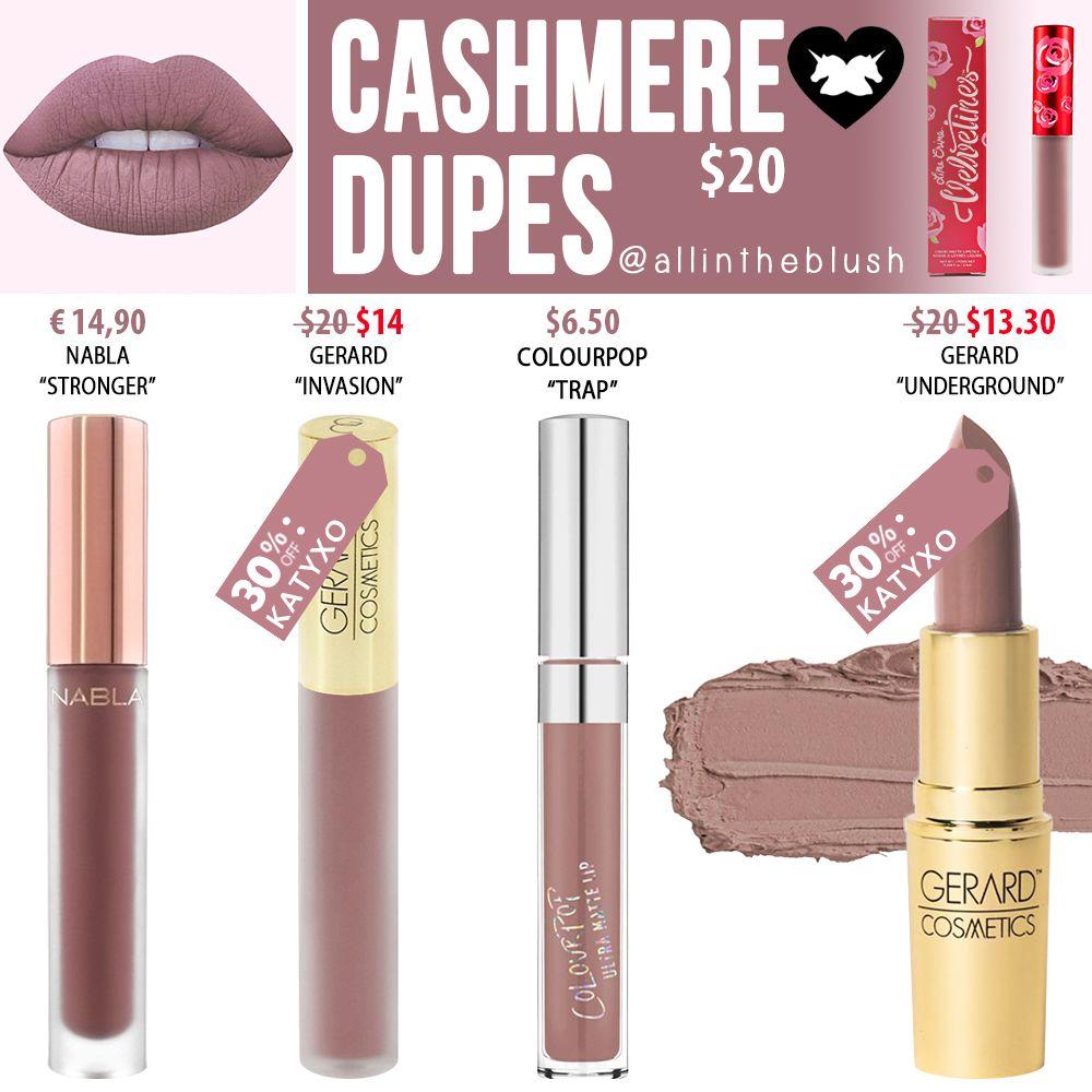 Lime Crime Cashmere Velvetine Dupes Lip colors, Lipsence