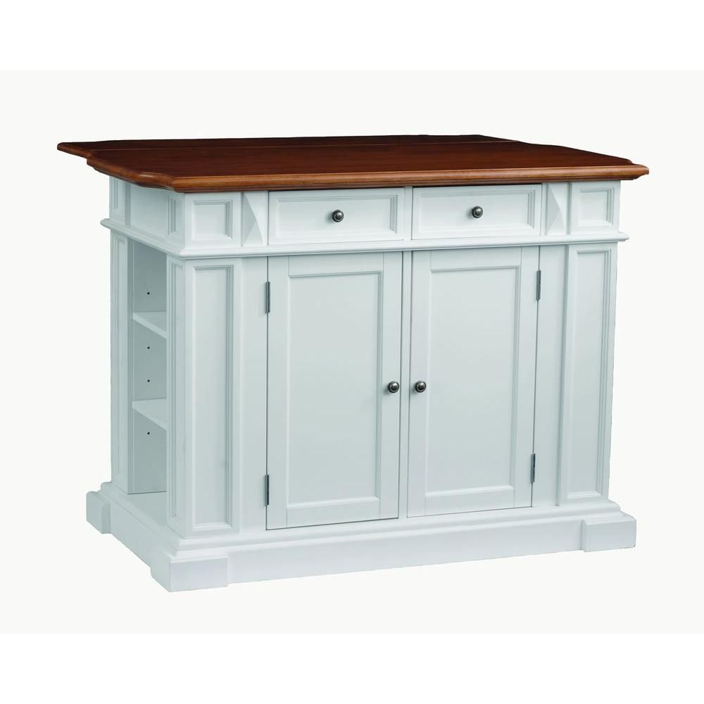 Homestyles Americana White Kitchen Island With Drop Leaf 5002 94 The Home Depot Kitchen Island Design Americana Kitchen White Kitchen Island