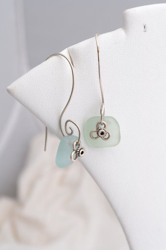 Sea Glass with handmade sterling curvey wires      by mostlydreams, $35.00