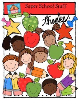 FREEBIE Super School Stuff (P4 Clips Trioriginals Clip Art) Thanks #clipartfreebies