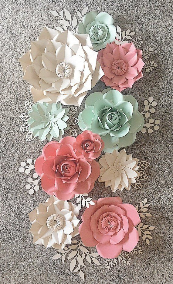 Paper Flowers Wall Decor Paper Flowers For Girls Room Floral Etsy Paper Flowers Paper Flower Wall Decor Paper Flower Wall