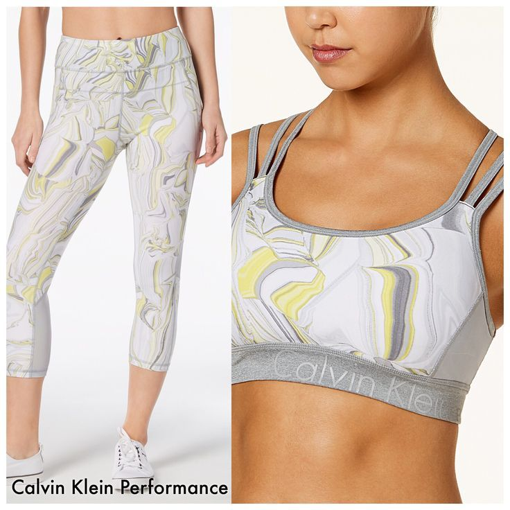 866ca87253 Top  Calvin Klein Elemental Printed Strappy-Back Medium-Support Sports Bra.  Capris  Calvin Klein Performance Printed High-Waist Cropped Leggings.