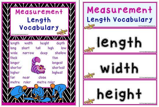 Mathematics Vocabulary Measurement Length Math Measurement Vocabulary Measurement Length