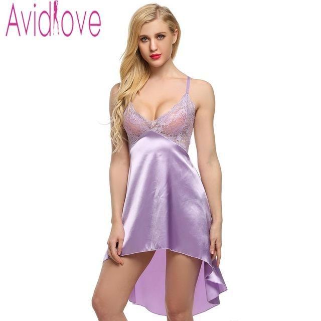 641e2d5b34c4 Sexy Stain Nightgown Women Lace Sleepwear Night Dress Sexy Strap Lingerie  Slik Nightwear Nightdress+ G-String S-XXL