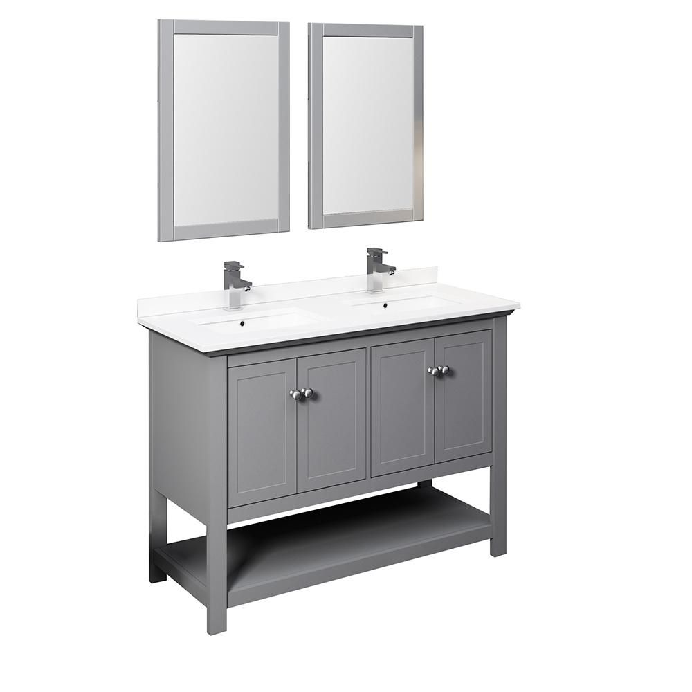 Fresca Manchester 48 In W Bathroom Double Bowl Vanity In Gray