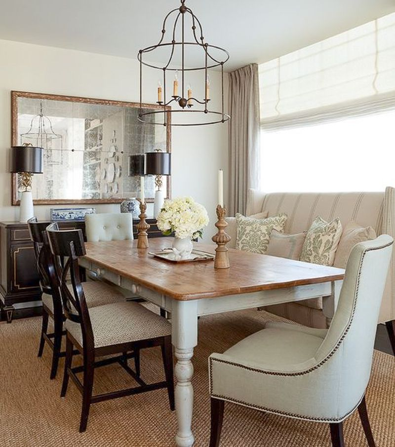 Settee Style Farmhouse dining room table, Dining room