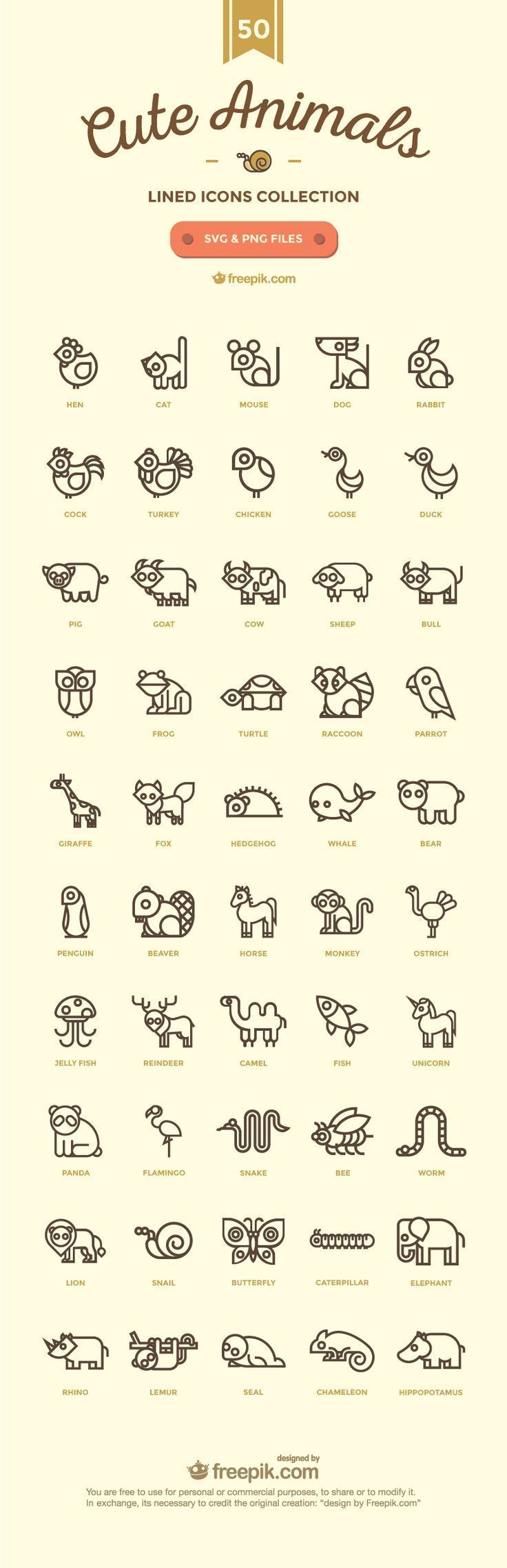 50 Free Cute Linear Animal Icons – #Animal #cute #Free #icon #Icons #Linear