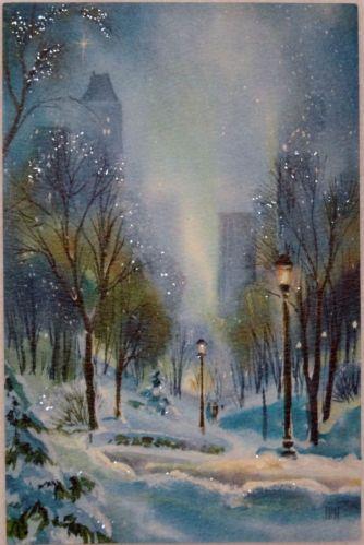 #739 60s Hallmark Glittered Snow Scene-Vintage Christmas Greeting Card