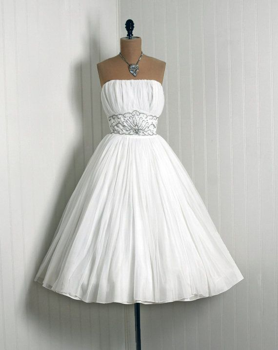 1950's Crisp-White Beaded Sequin Rhinestone Fully-Lined Nylon-Chiffon  *Elegant Low-Cut Plunge Heavily-Ruched Shelf-Bust Fully-Boned Strapless  *Cocktail-Length Bombshell Nipped-Waist Backside Train Full Circle-Skirt