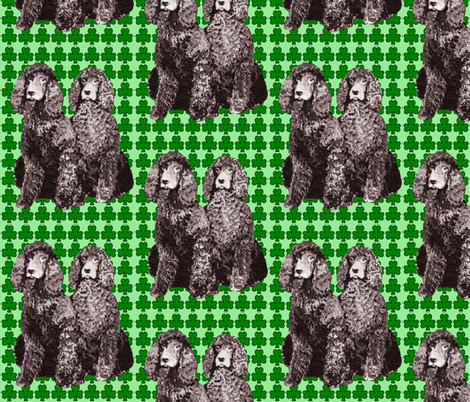 Irish water spaniels with green background fabric by dogdaze_ on Spoonflower - custom fabric