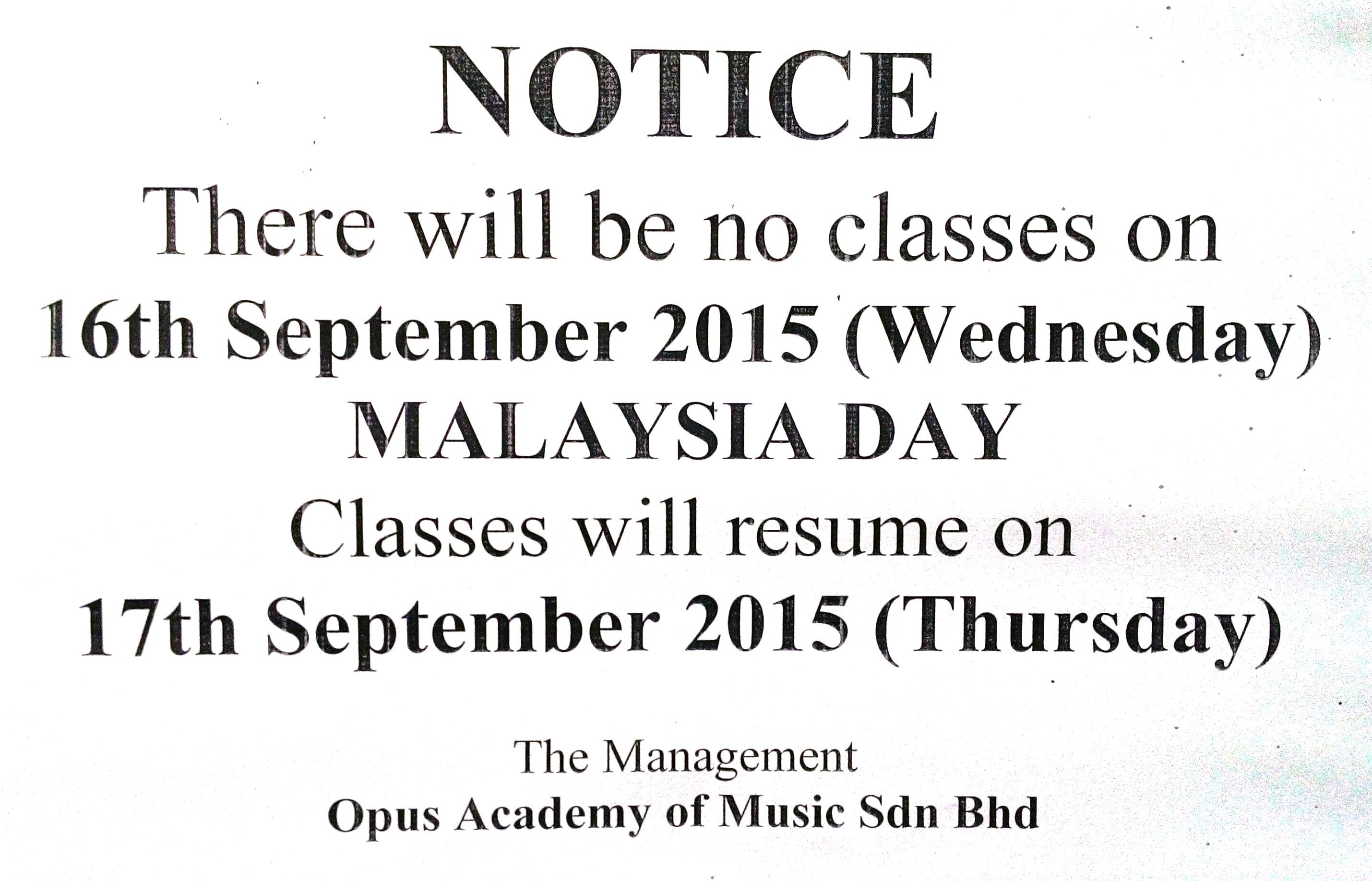 Malaysia Day Holiday Notice Dear Parents Students Please Be