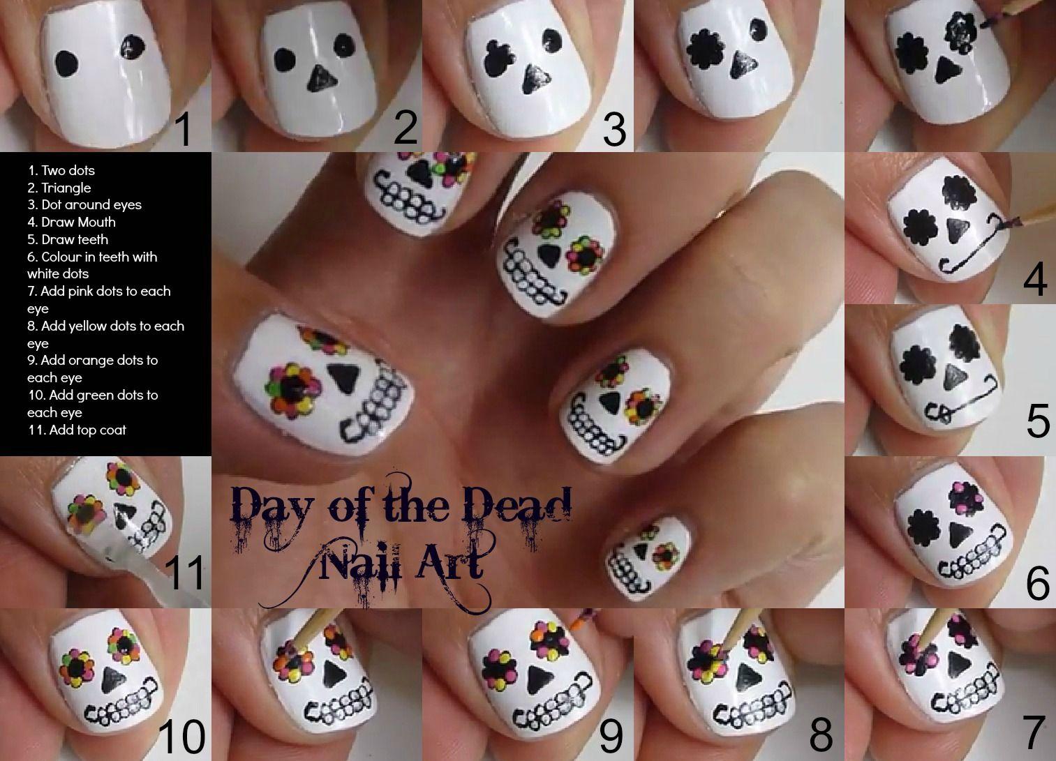 DAY OF THE DEAD NAILS | Nail Tutorials | Pinterest | Rock, Nail nail ...