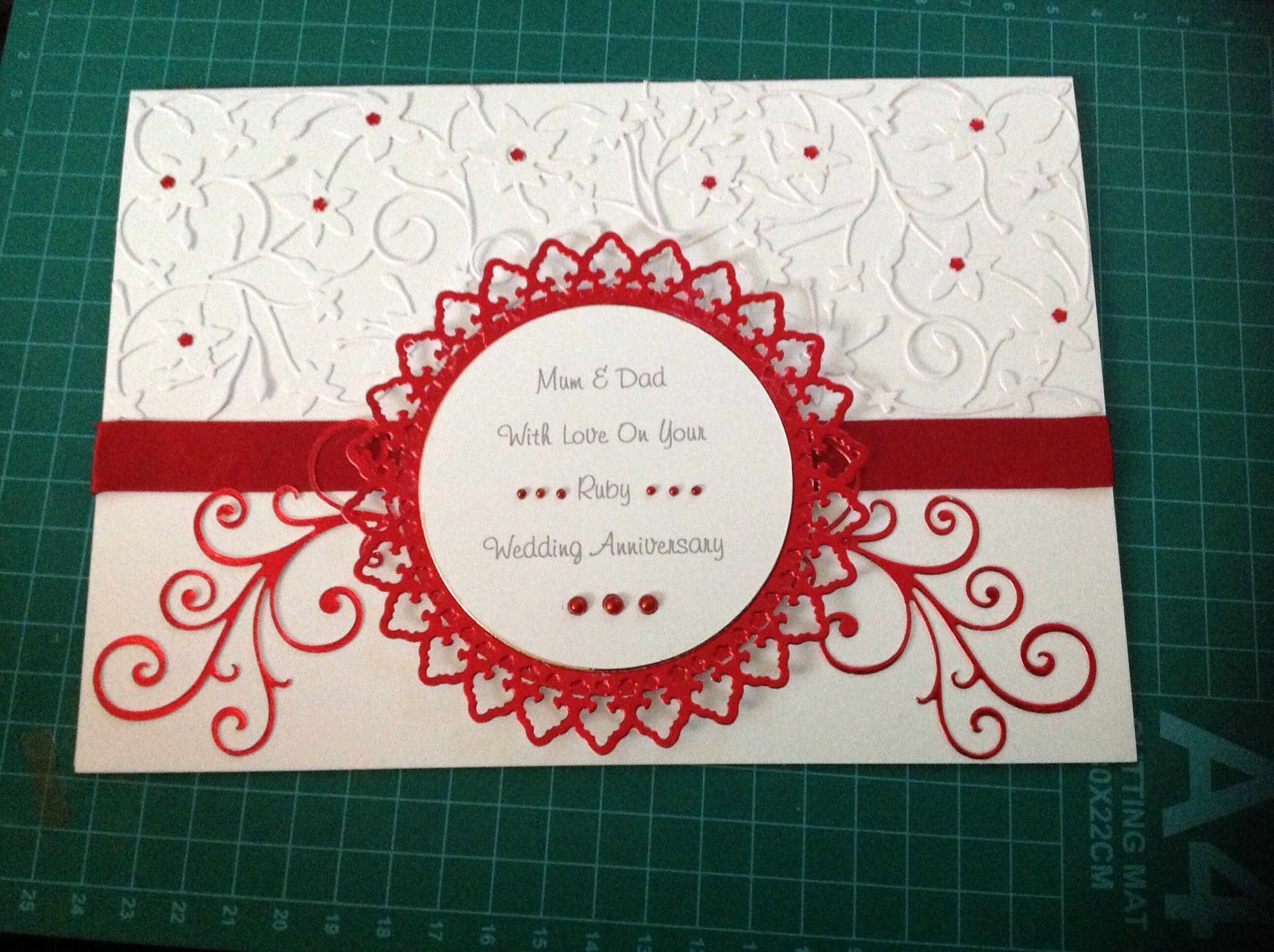 Рубиновая свадьба открытка скрапбукинг