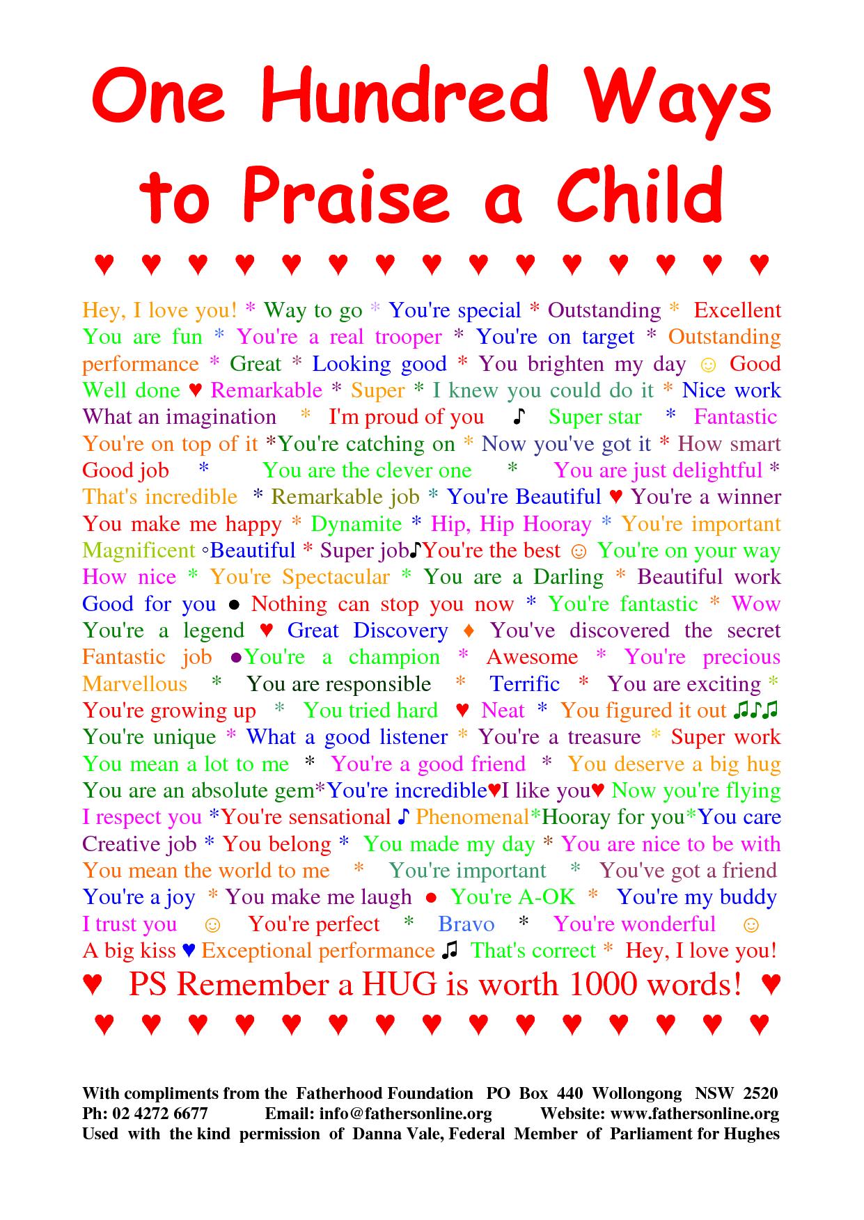 100 Ways To Praise Your Child