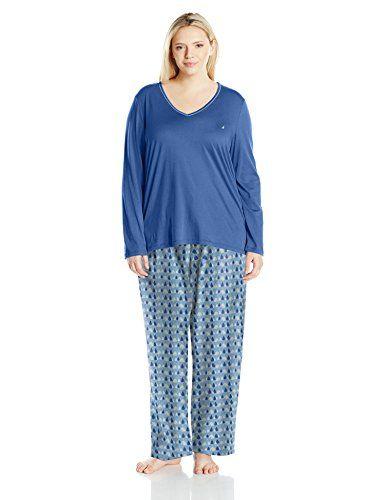 Nautica Women's Plus Size Flannel Pajama Set with Knit Top ...