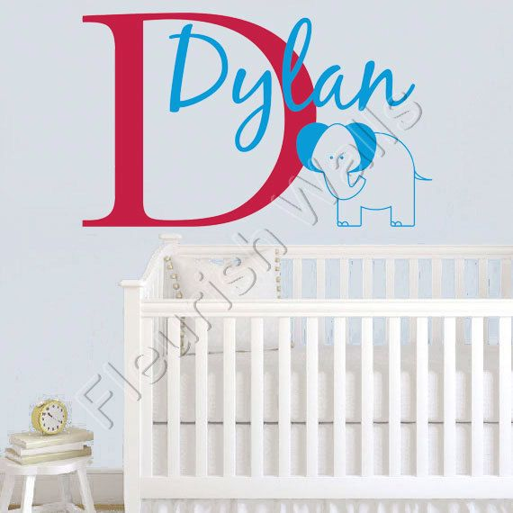 Personalized Jungle Wall Decal - Elephant Wall Decal Initial & Name for Boy Baby Nursery Toddler Teen Room 22H x 36W BN005
