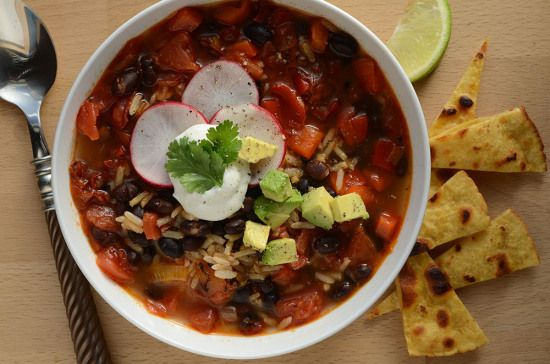 Cooking for One: Southwestern Black Bean Soup with Crunchy Tortilla Topping | CookingLight.com