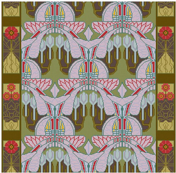 Rene Beauclair Repeating Wallpaper Pattern Cross By Whoopicat - Arts and crafts fabric patterns