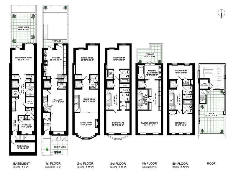 16 East 95th Street Asking 23 5 Million Floor Plan New York Townhouse Apartment Floor Plans Floor Plans
