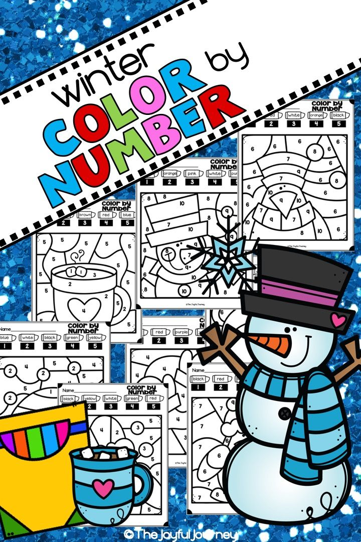 Winter Color By Number Coloring Pages | Kindergarten ...