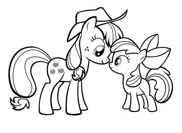 Pony My Little Pony Applejack And Apple Bloom Coloring Page In 2020 My Little Pony Coloring My Little Pony Applejack Cartoon Coloring Pages