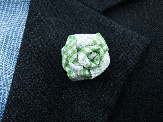 Green Lapel Flower  Fabric Lapel Flower  Gingham by MayCheang