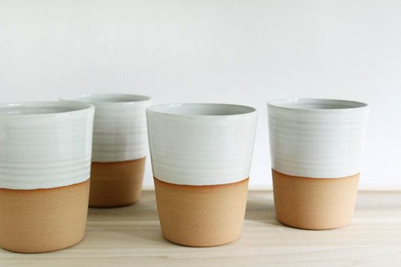 Four mugs without handles white minimalist by juliapaulpottery