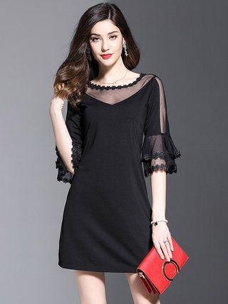 446c1d0adb80 Crew Neck Women Black Dress A-line Bell Sleeve Elegant Paneled Dress ...
